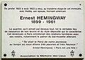 Rue Cardinal Lemoine-Plaque Hemingway.JPG