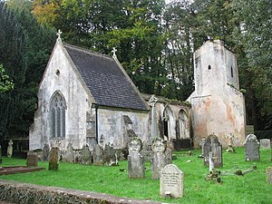 1852 in architecture - Image: Ruins of the old St Mary's church and the Rolle family mausoleum by the churchyard in Bicton Park geograph.org.uk 1564073