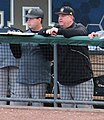 Russ Chandler Stadium Mike Sansing (right) in the dugout (12783153764).jpg