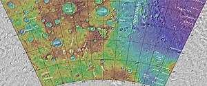 Russell (Martian crater) - Image: Russellcratermap