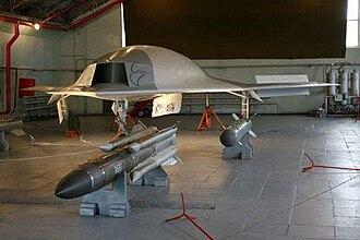 Mikoyan Skat - A full-size mockup of the Skat UCAV at the MAKS 2007 international air show.