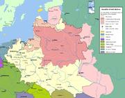 Mapa da Europa Central com a localiza��o da Comunidade Polaco-Lituana, em sua maior extens�o.