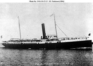 SS <i>Yorktown</i> (1894) originally Yorktown (1894) converted to the first turbo-electric passenger ship rebuilt from the wrecked Powhatan 1919–1920 began operation in late 1920 by Miami Steamship Company