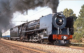 South African Class 15F 4-8-2 - No. 2940 Lynette at speed on the Johannesburg-Magaliesburg line, 6 April 1992