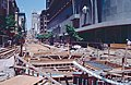 SF cable car system reconstruction work on Powell St north of Market, July 1983.jpg