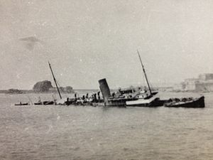 TSS Manx Maid (1910) - Image: SS Caesarea (Manx Maid) following her foundering at Jersey, 1923