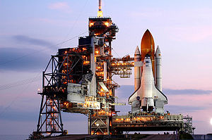 STS-118 - Space Shuttle Endeavour arrives at launch pad 39A.