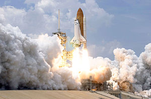 English: Space Shuttle Atlantis and its seven-...