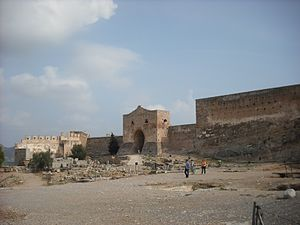 Sagunto Castle - The Almenara Gate overlooks the foundations of the Roman forum