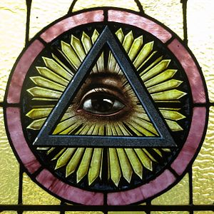 Saint Joseph Catholic Church (Wapakoneta, Ohio) - stained glass, Trinitarian Eye of Providence.jpg