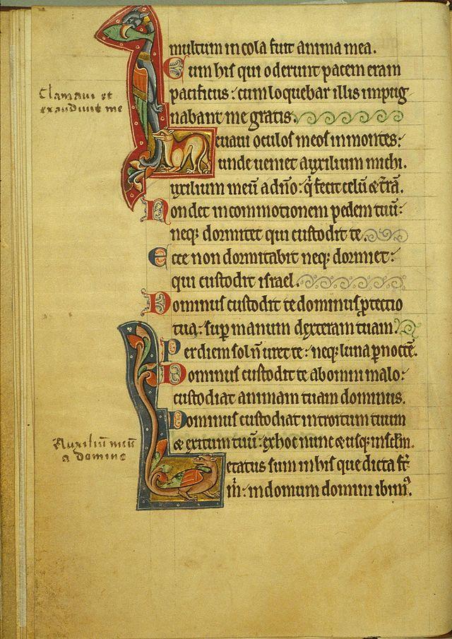 """Folio 150r: Twee zogenoemde zoömorfe initialen. De beide openingsletters zijn grotendeels opgebouwd uit (fantasie)dieren. De bovenste initiaal L is van psalm 120 """"Levavi oculos meos"""" (""""Ik sla mijn ogen op""""). De tweede initiaal, eveneens een L, is van psalm 121 """"Letatus sum"""" (""""Verheugd ben ik"""")."""