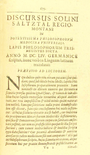 Johann Joachim Becher - Page of Theatrum Chemicum Volume VI (1659), showing the first page of 'Discursus Solini Saltztal Regiomontani De potentissima philosophorum medicina universali, lapis philosophorum trismegistus dicta.'