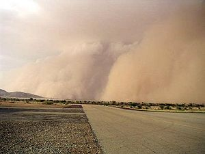 Geography of Chad - A sandstorm at Abéché airport, Chad (2005).