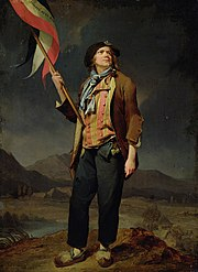 Early depiction of the tricolour in the hands of a sans-culotte during the French Revolution