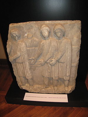 Kandys - Sasanian embassy to Byzantine Empire, stone relief in Istanbul Archaeological Museums, Turkey