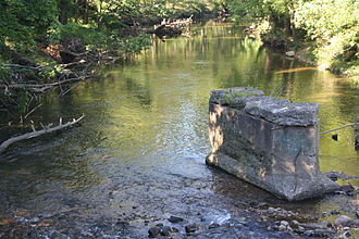 Saucon Creek - Saucon Creek, ruins of the former Friedensville Road bridge, Hellertown.