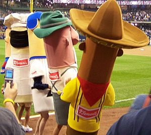 Sausage Race - The sausages prepare to race.
