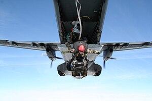 Commando Parachute Group - A Parachute Commando of a GCP Team from the 1st Parachute Hussar Regiment commencing airborne drop.