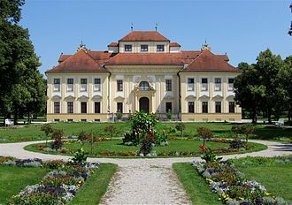 Schleissheim Palace - Lustheim Palace from the east, with bosquet area