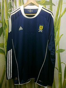 Scotland national football team jersey made by Adidas, with the classic 3 stripes Scotland national football shirt.jpg