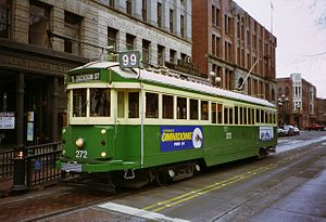 Waterfront Streetcar - Car 272 eastbound on Main Street,  at the Occidental Park stop
