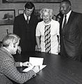 Seattle Mayor Wes Uhlman signing legislation with Councilmembers Tim Hill(?), Jeanette Williams, and Sam Smith, 1972 (26299362002).jpg