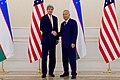 Secretary Kerry Shakes Hands With President Karimov of Uzbekistan in Samarkand (22649086756).jpg