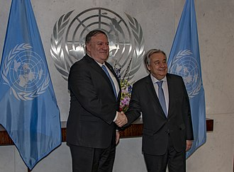 United States and the United Nations - US Secretary of State Mike Pompeo (left) with UN Secretary General António Guterres (right) in 2019