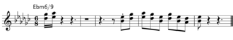 "Quartal and quintal harmony - A typical hard bop brass part, from Horace Silver's ""Señor Blues"""