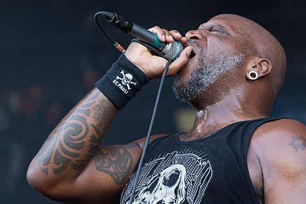 Derrick Green has been the singer of Sepultura since 1998, when he replaced Max Cavalera, who had left the band in 1996. Sepultura With Full Force 2014 03.jpg