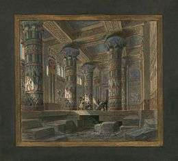 Philippe Chaperon's Act IV scene 2 set design for the 1880 Palais Garnier performance in Paris.
