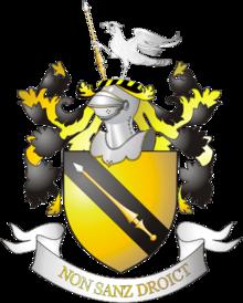 Герб с девизом рода шекспиров non sanz droict