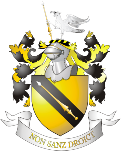 Герб с девизом рода Шекспиров Non Sanz Droict— фр. «Не без права»