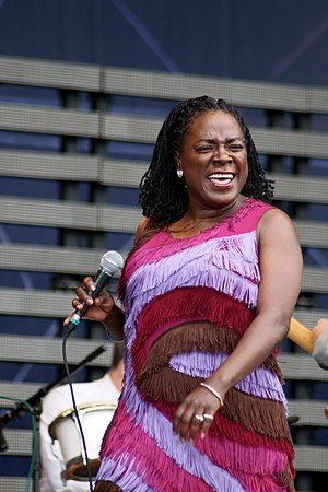 Sharon Jones performing at Pori Jazz in 2010