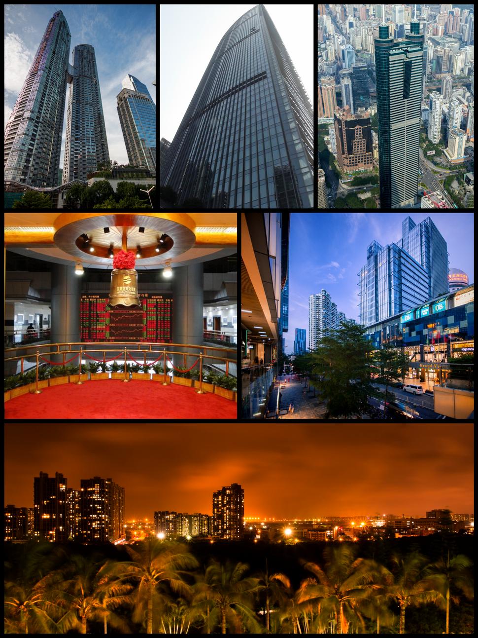 Clockwise starting at top left: East Pacific Center, KK100, Shun Hing Square, Coastal City, Shenzhen Bay at night, Shenzhen Stock Exchange