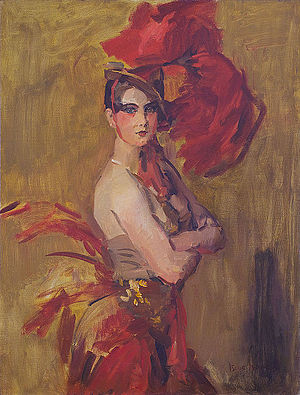 Showgirl - Show-girl (La Cocotte) at Scala Theatre, The Hague; by Isaac Israëls
