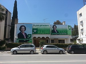 Northern Cyprus presidential election, 2015 - Posters promoting Sibel Siber in Dereboyu Avenue, Nicosia