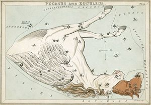 Pegasus (constellation) - Pegasus with the foal Equuleus next to it, as depicted in Urania's Mirror, a set of constellation cards published in London c.1825. The horses appear upside-down in relation to the constellations around them.