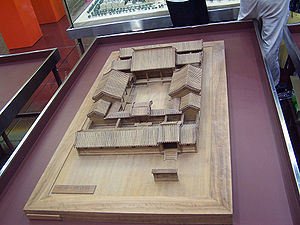 Chinese architecture - Model of a Chinese Siheyuan in Beijing, which shows off the symmetry, enclosed heavy platform and a large roof that floats over this base, with the vertical walls not as well emphasized.