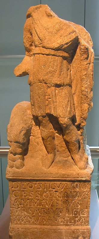 Votum - Votive statue for the god Silvanus; the inscription ends with the abbreviation V.S.L.M. (votum solvit libens merito)