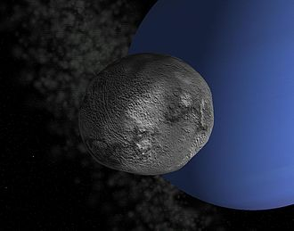 Larissa (moon) - A simulated view of Larissa orbiting Neptune. The surface details are fictional.