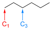 The skeletal formula of hexane, with carbons number one and three labelled