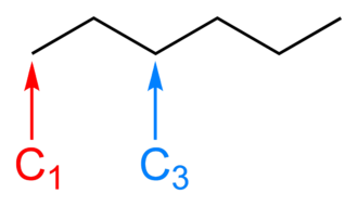 Skeletal formula - The skeletal formula of hexane, with carbons number one and three labelled