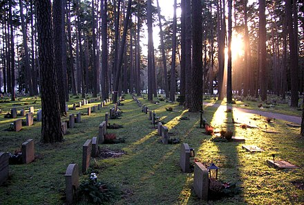 The Skogskyrkogarden cemetery where the funeral service for Avicii was held. Skogskyrk Grav 2006.jpg