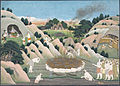 Smoke rises from the funerary pyre of the monkey king Vali.jpg