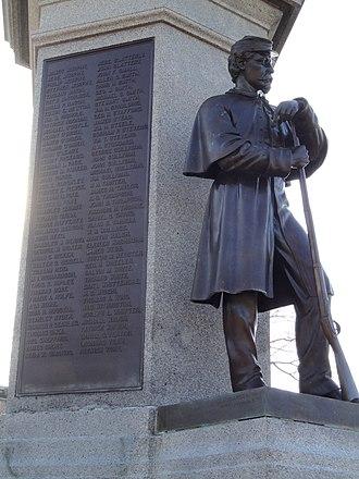 Henry Jackson Ellicott - Image: Soldiers and Sailors Monument sculpture Lawrence, MA DSC03568