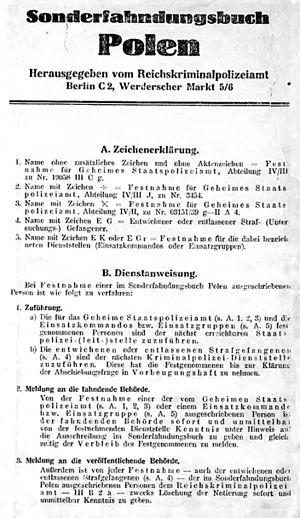 Intelligenzaktion - Sonderfahndungsbuch Polen book - lists of 60,000 targets in Intelligenzaktion.