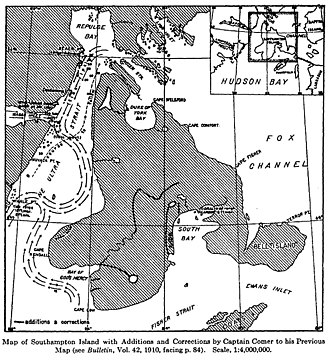 Bell Peninsula - 1913 map by George Comer. Bell Peninsula is still referred to as an island, but is charted as a peninsula of Southampton Island.