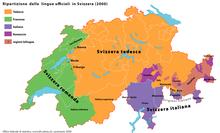 Ripartizione delle lingue ufficiali in Svizzera (2000).