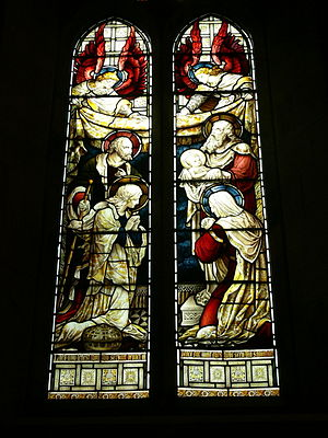 "Nunc dimittis - Stained glass window in St. Alban's Anglican Church in Copenhagen, Denmark, depicting the ""Nunc dimittis""-scene"
